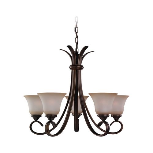 Sea Gull Lighting Chandelier with Beige / Cream Glass in Russet Bronze Finish 31361-829