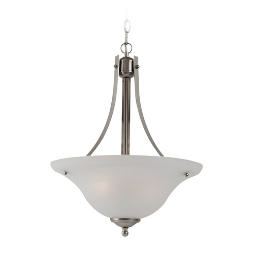 Sea Gull Lighting Pendant Light with Alabaster Glass in Brushed Nickel Finish 65941BLE-962