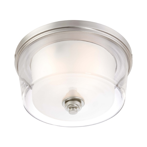 Nuvo Lighting Modern Flushmount Light with White Glass in Brushed Nickel Finish 60/4652