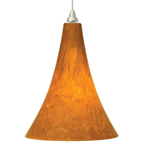 Tech Lighting Murano Art Glass Mini-Pendant Light in Satin Nickel Finish 700-FJMLPAS/700-FJ4RFS KIT