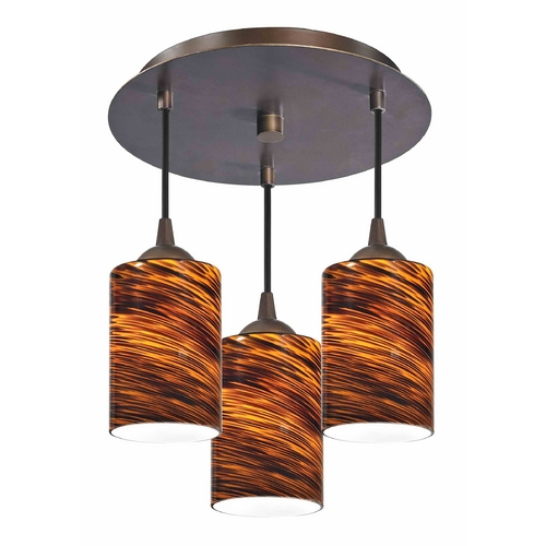 Design Classics Lighting 3-Light Semi-Flush Ceiling Light with Cylinder Art Glass - Bronze Finish 579-220 GL1023C