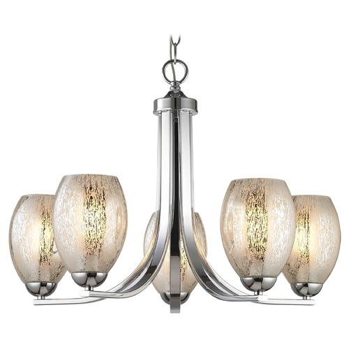 Design Classics Lighting Chrome Chandelier with Mercury Oblong Glass and 5-Lights 584-26 GL1034-MER