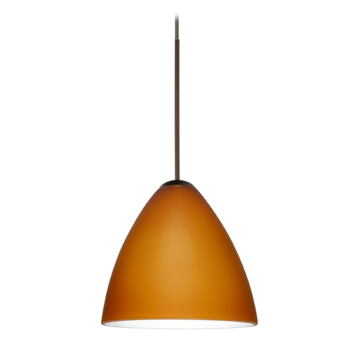 Besa Lighting Besa Lighting Mia Bronze LED Mini-Pendant Light with Bell Shade 1XT-177980-LED-BR