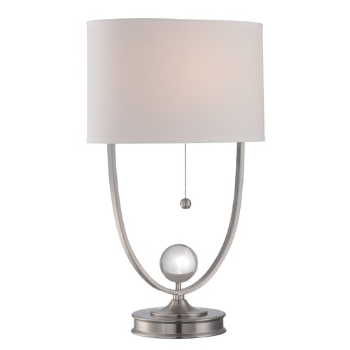 Lite Source Lighting Lite Source Lighting Palma Polished Steel Table Lamp with Oval Shade LS-22606