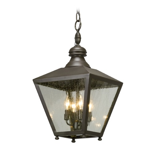 Troy Lighting Seeded Glass LED Outdoor Hanging Light Bronze Troy Lighting FL5197