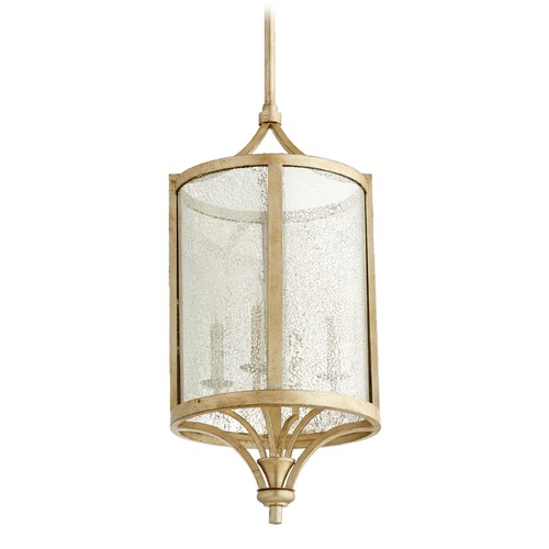 Quorum Lighting Quorum Lighting Aged Silver Leaf Pendant Light with Cylindrical Shade 6803-4-60