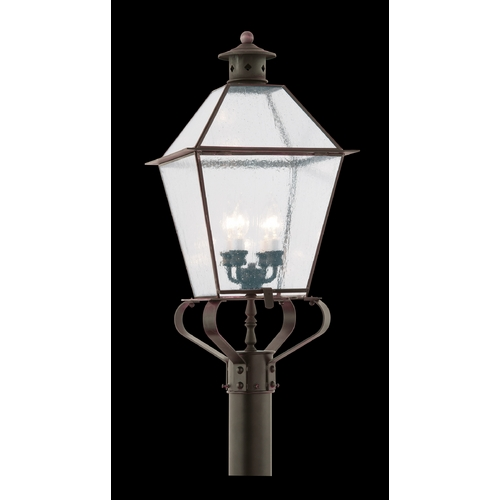 Troy Lighting Post Light with Clear Glass in Natural Aged Brass Finish PCD8961NAB