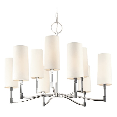 Hudson Valley Lighting Modern Chandelier with White Shades in Polished Nickel Finish 369-PN