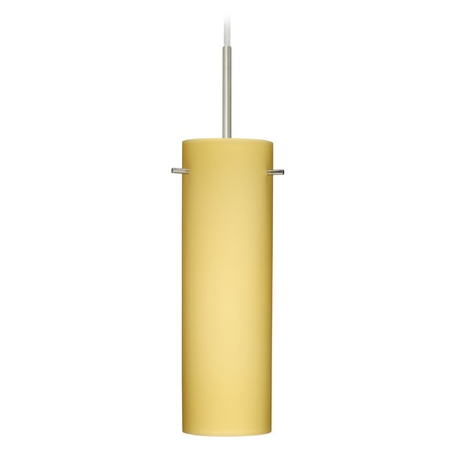 Besa Lighting Besa Lighting Copa Satin Nickel Mini-Pendant Light with Cylindrical Shade 1BT-4930VM-SN