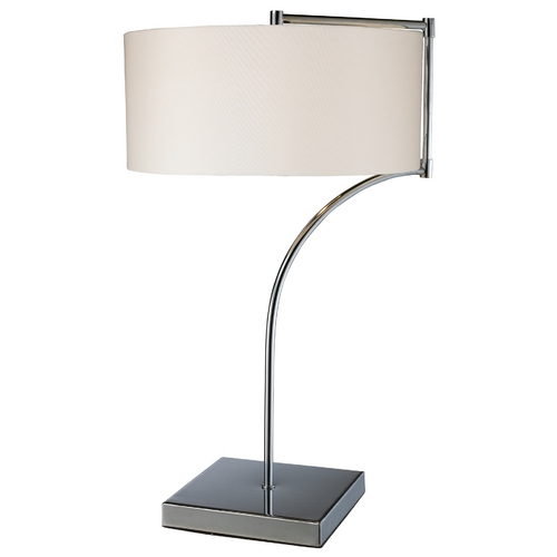 Elk Lighting Modern Table Lamp with White Shade in Chrome Finish D1833
