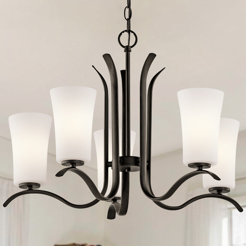 Kichler Lighting Kichler Chandelier with White Glass in Olde Bronze Finish 43074OZ