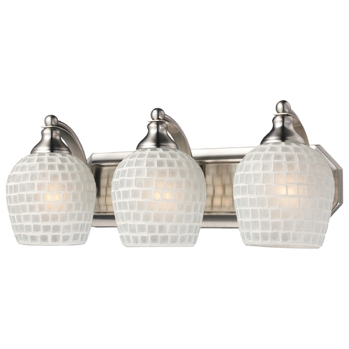 Elk Lighting Bathroom Light with Art Glass in Satin Nickel Finish 570-3N-WHT