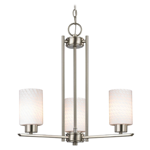 Design Classics Lighting Chandelier with White Glass in Satin Nickel - 3-Lights 1121-1-09 GL1020C