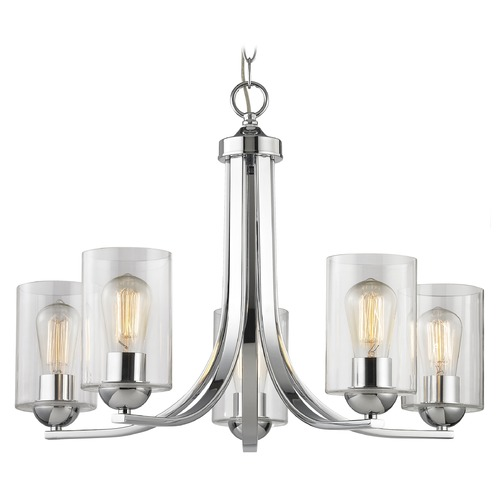 Design Classics Lighting Chrome Chandelier with Clear Cylinder Glass and 5-Lights 584-26 GL1040C