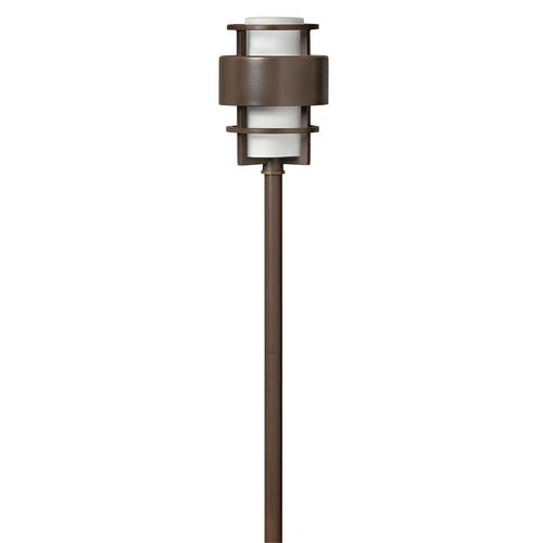 Hinkley Lighting Modern Path Light with White Glass in Metro Bronze Finish 1579MT