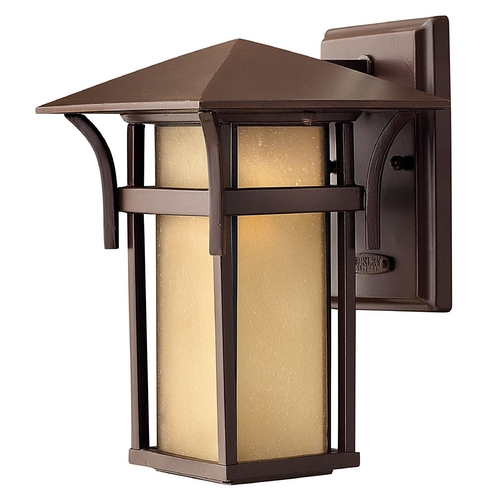 Hinkley Lighting Etched Amber Seeded Glass Outdoor Wall Light Bronze Hinkley Lighting 2570AR-GU24