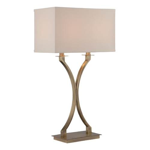 Lite Source Lighting Lite Source Antique Brass Table Lamp with Rectangle Shade LS-22615