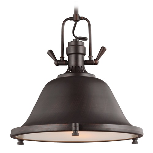 Sea Gull Lighting Sea Gull Lighting Stone Street Burnt Sienna Pendant Light with Bowl / Dome Shade 6514402BLE-710