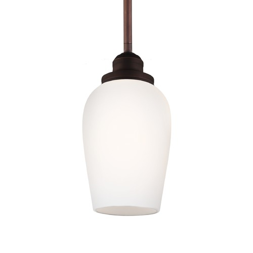 Feiss Lighting Feiss Standish Oil Rubbed Bronze with Highlights Mini-Pendant Light with Bell Shade P1344ORBH