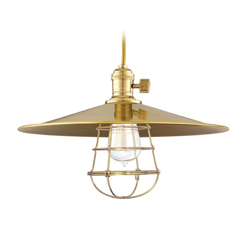 Hudson Valley Lighting Hudson Valley Lighting Heirloom Aged Brass Pendant Light with Coolie Shade 8002-AGB-MM1-WG