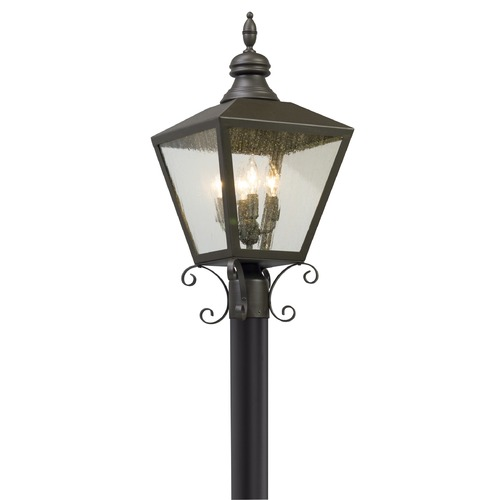 Troy Lighting Seeded Glass LED Post Light Bronze Troy Lighting PL5195