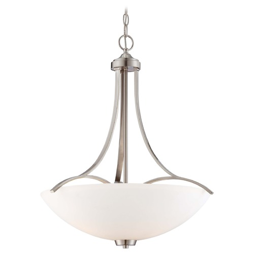 Minka Lavery Overland Park Brushed Nickel Pendant Light with Bowl / Dome Shade 4964-84