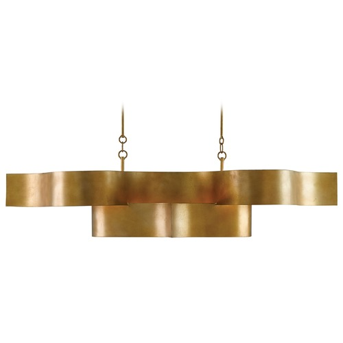 Currey and Company Lighting Currey and Company Grand Lotus Antiquegold Leaf Island Light 9000-0046