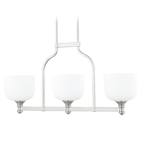 Quorum Lighting Quorum Lighting Richmond Satin Nickel Island Light with Bowl / Dome Shade 6911-3-165