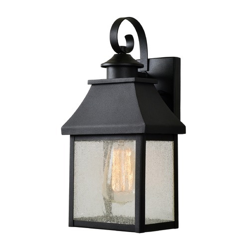 Kenroy Home Lighting Seeded Glass Outdoor Wall Light Black with Gold Highlights Kenroy Home Lighting 93681BL
