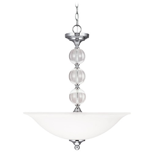 Sea Gull Lighting Sea Gull Lighting Englehorn Chrome / Optic Crystal Pendant Light with Bowl / Dome Shade 6613403-05