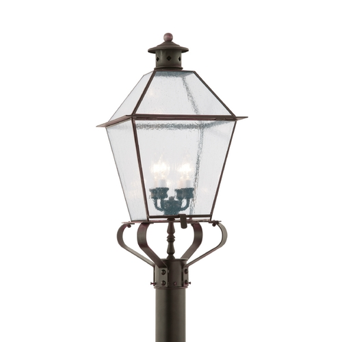 Troy Lighting Post Light with Clear Glass in Natural Rust Finish PCD8961NR