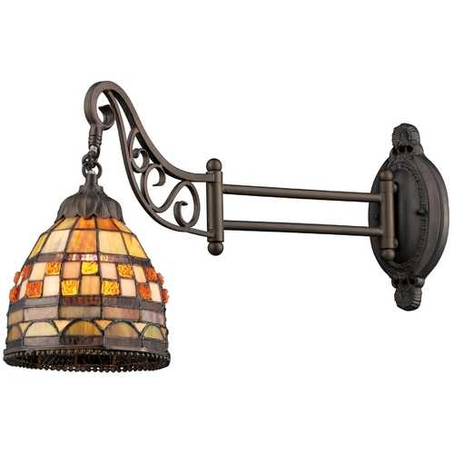 Elk Lighting Swing Arm Lamp with Tiffany Glass in Bronze Finish 079-TB-10