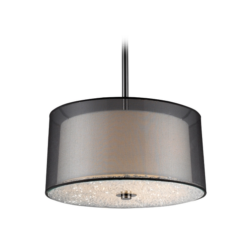 Elk Lighting Modern Drum Pendant Light with White Glass in Black Chrome Finish 10313/3
