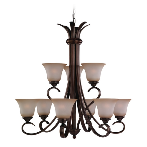 Sea Gull Lighting Chandelier with Beige / Cream Glass in Russet Bronze Finish 31362-829