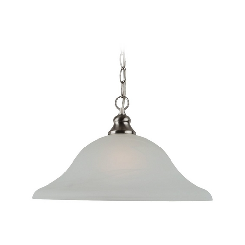Sea Gull Lighting Pendant Light with Alabaster Glass in Brushed Nickel Finish 65942-962