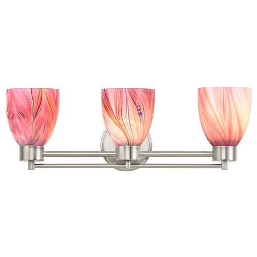 Design Classics Lighting Modern Bathroom Light with Pink Art Glass in Satin Nickel Finish 703-09 GL1004MB