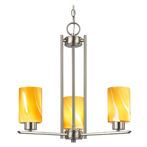 Design Classics Lighting Chandelier with Butterscotch Art Glass in Satin Nickel - 3-Lights 1121-1-09 GL1022C