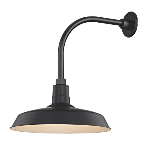 Recesso Lighting by Dolan Designs Black Gooseneck Barn Light with 16-Inch Shade BL-ARML-BLK/BL-SH16-BLK