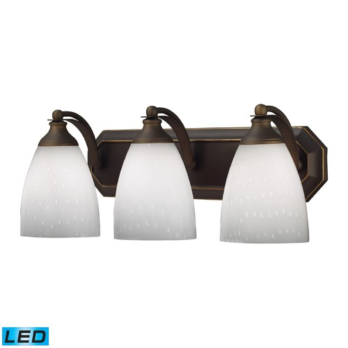 Elk Lighting Elk Lighting Bath and Spa Aged Bronze LED Bathroom Light 570-3B-WH-LED