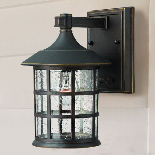 Hinkley Seeded Glass Outdoor Wall Light Oil Rubbed Bronze Hinkley 1800OZ