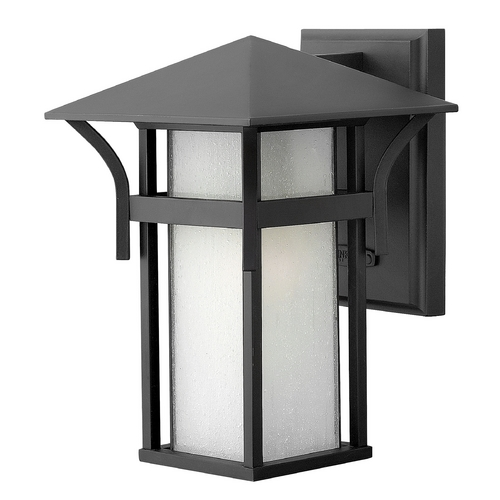 Hinkley Lighting Outdoor Wall Light with White Glass in Satin Black Finish 2570SK-GU24