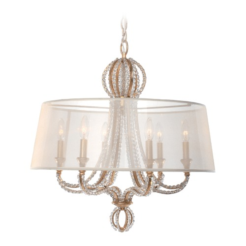 Crystorama Lighting Crystorama Lighting Garland Distressed Twilight Pendant Light with Drum Shade 6767-DT