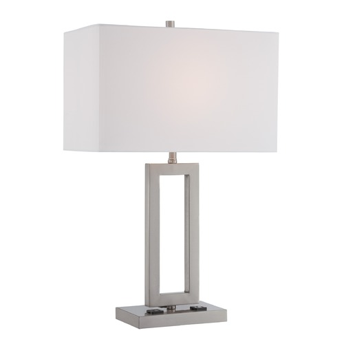 Lite Source Lighting Lite Source Lighting Fiadi Polished Steel Table Lamp with Rectangle Shade LS-22638