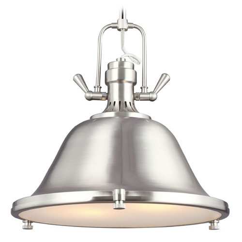 Sea Gull Lighting Farmhouse Pendant Light Brushed Nickel Stone Street by Sea Gull Lighting 6514402BLE-962