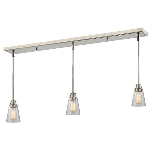 Z-Lite Z-Lite Annora Brushed Nickel Multi-Light Pendant with Conical Shade 428MP-3BN