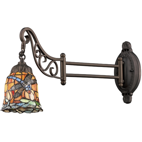 Elk Lighting Swing Arm Lamp with Tiffany Glass in Bronze Finish 079-TB-12
