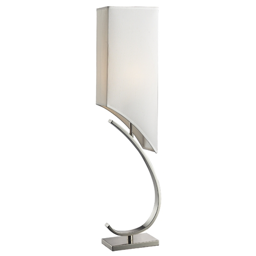 Elk Lighting Modern Table Lamp with White Shade in Polished Nickel Finish D2005