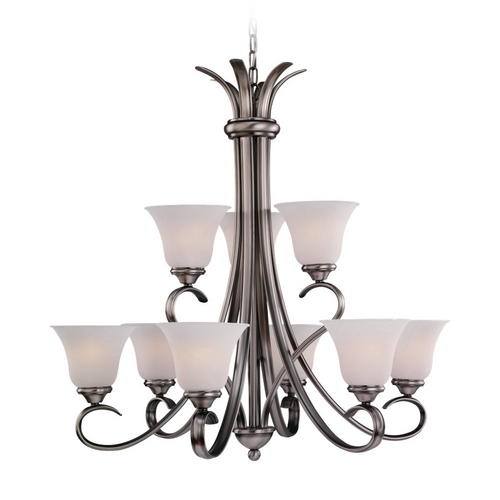 Sea Gull Lighting Chandelier with White Glass in Antique Brushed Nickel Finish 31362-965