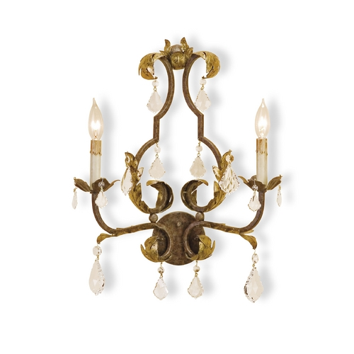 Currey and Company Lighting Plug-In Wall Lamp in Venetian/gold Leaf/swarovski Crystal Finish 5828
