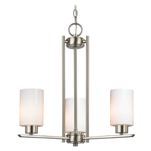 Design Classics Lighting Chandelier with White Glass in Satin Nickel - 3-Lights 1121-1-09 GL1024C